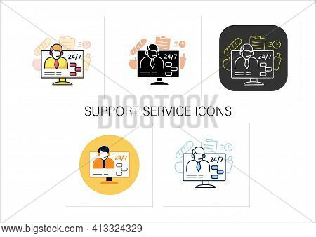 Support Service Icons Set. Day-and-night Community Service. Food Consultant. Phone Assistant, Online