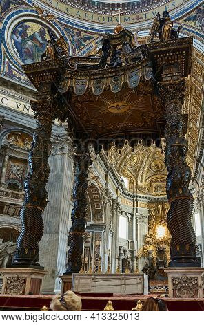 Vatican City, Vatican - May 17, 2017: View Of The Main Altar (baldachin, By Bernini) At The Basilica