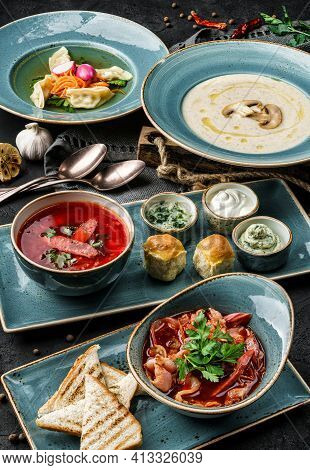 Various Soups From Worldwide Cuisines, Russian Traditional Beetroot Soup With Meat, Mushrooms Cream