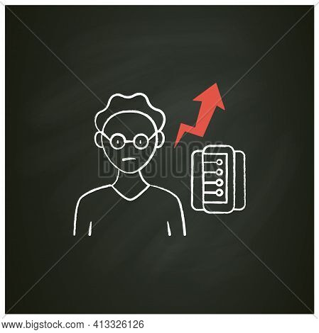 New Information Rate Chalk Icon. Rapidly Increasing Rate Of New Info. Inaccurate, Fake Info. Informa