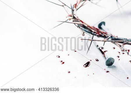 Crown Of Thorns With Blood Dripping, Nails On Stone. Christian Concept Of Jesus Christ Suffering, Pa
