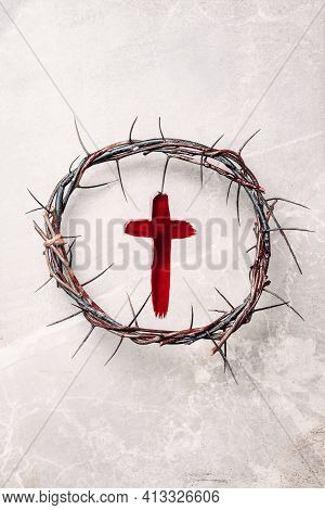 Crucifix Made Of Blood, Crown Of Thorns. Good Friday. Easter Holiday. Christian Cross Painted With B