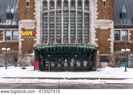 Quebec City, Quebec, Canada - 17 January 2021: The Railway Station (gare Du Palais) Of Quebec City.