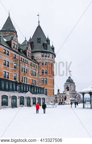 Quebec City, Quebec, Canada - 17 January 2021: The Dufferin Terrace In The Old Quebec City.