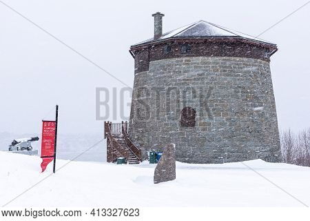 Quebec City, Quebec, Canada - 17 January 2021 : Under The Snow, The Martello Tower 1, On The Histori