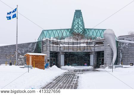 Quebec City, Quebec, Canada - 17 January 2021: The Front Of The Fine Arts Museum Of Quebec (musée N