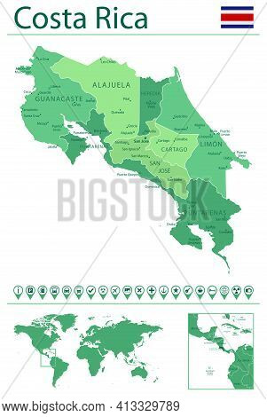 Costa Rica Detailed Map And Flag. Costa Rica On World Map.