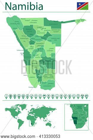 Namibia Detailed Map And Flag. Namibia On World Map.