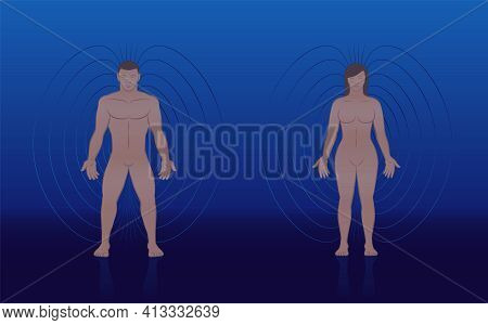 Human Magnetic Field Of Male And Female Body With Lines And Aura Like Energy Pattern Around A Couple