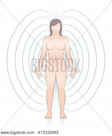 Human Magnetic Field. Standing Woman With Lines And Energetic Pattern Around Her Body. Complementary