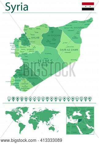 Syria Detailed Map And Flag. Syria On World Map.