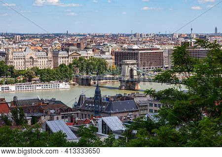 View Of The Bridge Over The Danube River In Buda Pest, Hungary