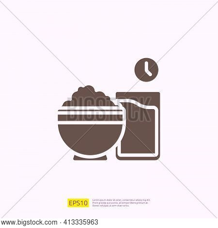 Iftar Food Silhouette Glyph Solid Icon For Muslim And Ramadan Theme Concept. Vector Illustration