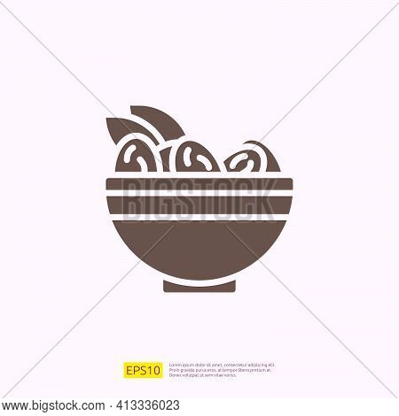 Dates Meal Iftar Silhouette Glyph Solid Icon For Muslim And Ramadan Theme Concept. Vector Illustrati