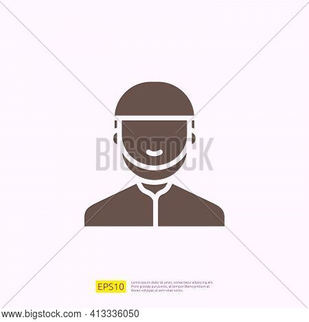 Man Avatar Silhouette Glyph Solid Icon For Muslim And Ramadan Theme Concept. Vector Illustration