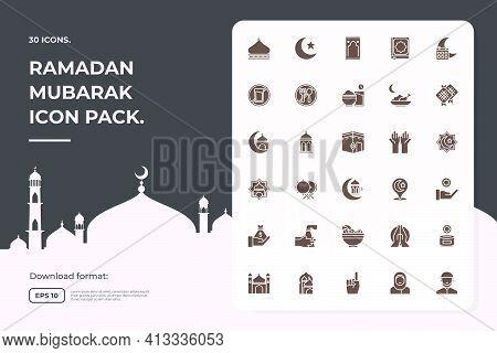 Silhouette Glyph Solid Icon Set Of Muslim And Ramadan Mubarak Theme Concept Vector Illustration