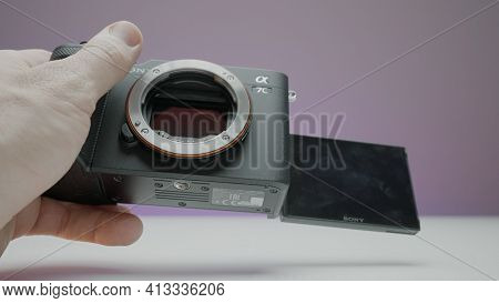 Moscow, Russia - December, 2020: Close-up Of New Camera From Sony. Action. Photographer Holds New Pr