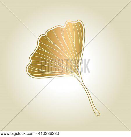 Print Vector Illustration Of Ginkgo Biloba Leaf. Ink Line Art Design