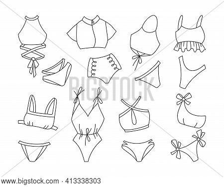 Lingerie Swimsuit Black Line Set Swimwear Vector