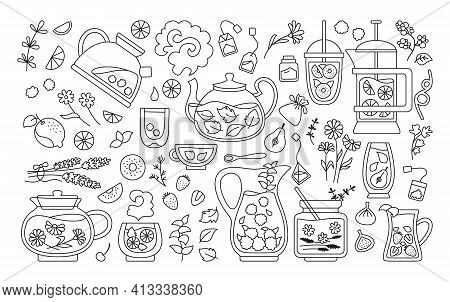 Cup Of Tea Cocktails Black Line Set Mug Cup Teapot