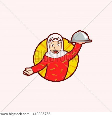 Old Grandmother Mama Food Mascot Logo Carry Platter Tray With Smiles