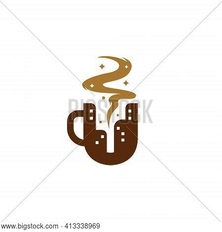 Letter U Coffee City Cafe Logo, Coffee Mug With City Skyscraper Silhouette Logo Icon Concept