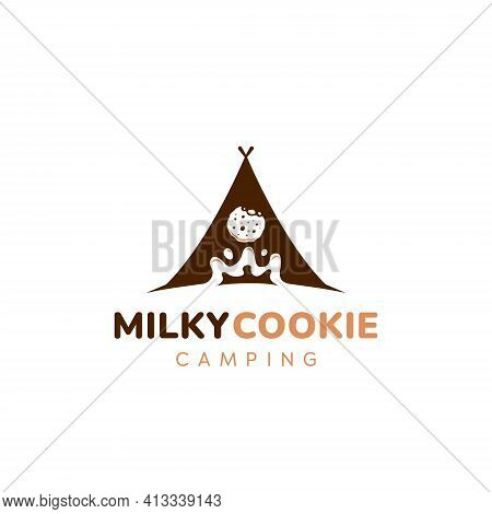 Milk And Cookie, Milky Cookies Camping Club Logo Icon Symbol Vector With Dark Brown Chocolate Tent I