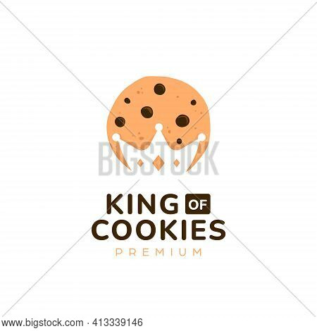 King Majesty Cookies Logo With Crown Silhouette Negative Space Cutout Inside Cookie Icon Symbol Illu