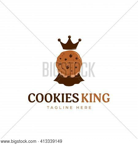 Chocolate Cookie Cookies King Logo Mascot Symbol With Crown And Cape Icon Illustration