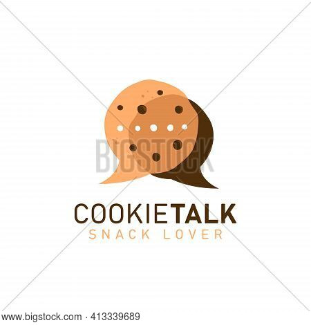 Cookie Cookies Talk Logo Icon Symbol With Two Cookies In Bubble Comic Speak Discussion Talk Shape Il