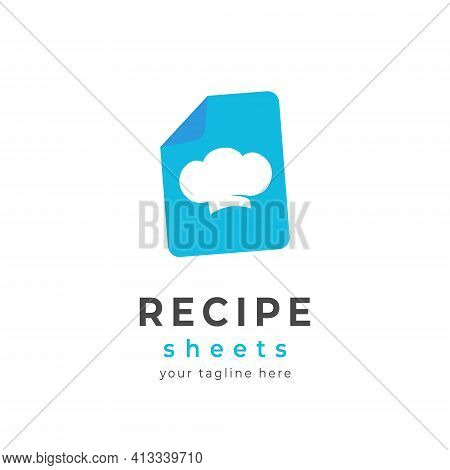 Chef Cooking Recipe Sheet Logo Icon Vector With Blue Sheet And Chef Hat Symbol Illustration