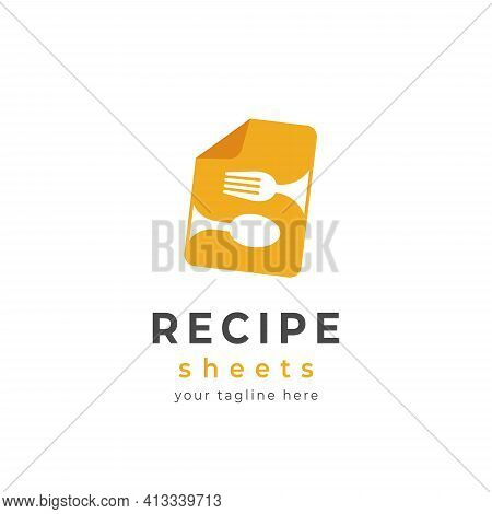Cooking Recipe Sheets Logo Icon Yellow Sheet With Fork And Spoon Icon In Letter S Shape Vector Illus