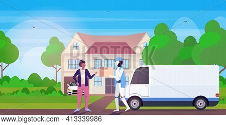 Modern Robot Delivering Cardboard Parcel Box To Woman Recipient Artificial Intelligence Technology D