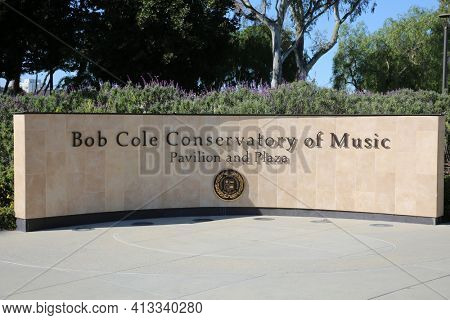 March 15, 2021- Long Beach, California: Sign for the Bob Cole Conservatory of Music Pavilion and Plaza at the California State University, Long Beach. Editorial Use Only.