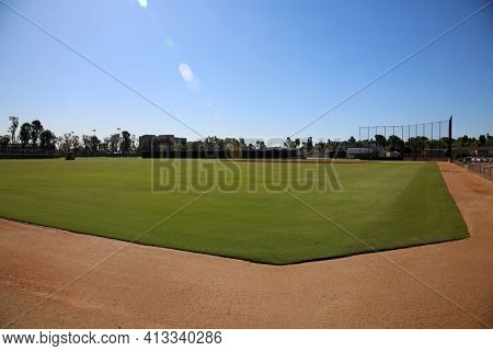 March 15, 2021- Long Beach, California: Baseball and Sports Field at the California State University, Long Beach. Editorial Use Only.