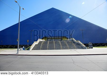 March 15, 2021- Long Beach, California - United States: The Walter Pyramid at California State University Long Beach California State University, Long Beach.  Editorial Use Only.