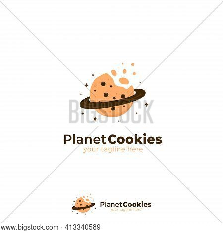 Planet Cookies Logo With Bitten Cookies And Planet Ring Icon Symbol Illustration