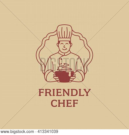 Friendly Chef Mascot Holding Soup Logo Icon Cartoon In Monoline Vintage Legendary Culinary Style