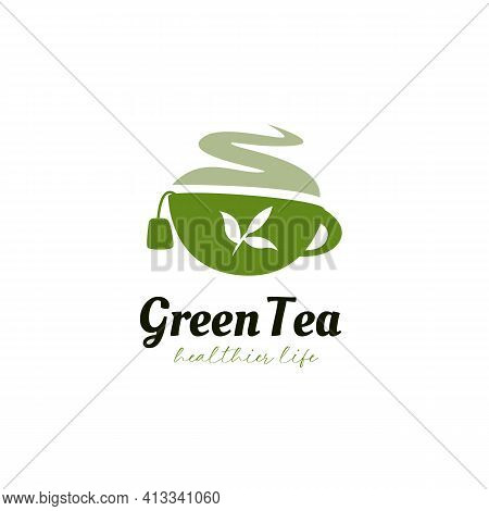 Herbal Green Tea Logo Icon Symbol With Green Cup And Tea Leaf Silhouette