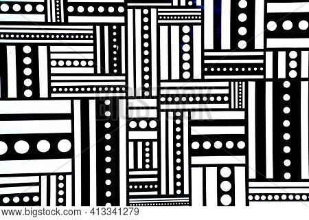black and white pattern of strips and dots. Backgrounds and Symbols. Illustration Design in black and white stripes