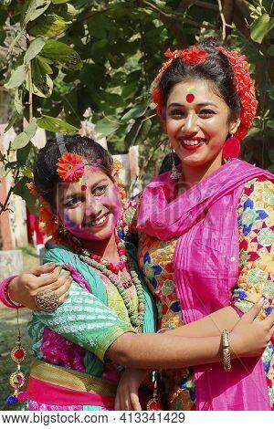 Kolkata, India - March 9th, 2020 : Beautiful Young Girls With Spring Festive Make Up , Smiling At Ho