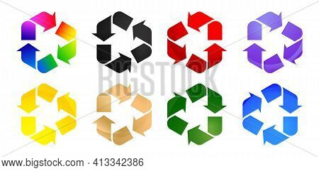 8 Recycle Icon Colors Set, Set Of Shapes, With Isolated White Backgrounds. Applicable For Product Pa