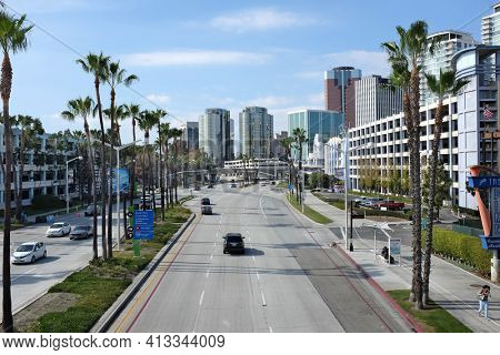 LONG BEACH, CA - FEBRUARY 21, 2015: Shoreline Drive, Long Beach. Once a year the city street is part of the course for the Toyota Grand Prix of Long Beach auto race.