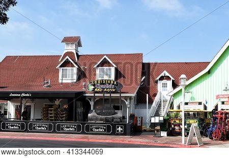 LONG BEACH, CALIFORNIA - 06 MAR 2020: Louisiana Charlie's Restaurant at Shoreline Village features BBQ and Cajun-style cuisine.