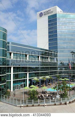 LONG BEACH, CA - FEBRUARY 21, 2015: Hyatt Regency Hotel. Adjacent to the Long Beach Convention and Entertainment Center the hotel has ocean views in an urban setting.