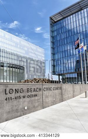 LONG BEACH, CALIFORNIA - 06 MAR 2020: Long Beach Civic Center, includes City Hall and Port of Long Beach Buildings.