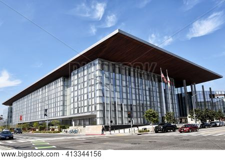 LONG BEACH, CALIFORNIA - 06 MAR 2020: The Governor George Deukmejian Courthouse belongs to the South Judicial District of Los Angeles.