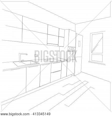 Black And White Scheme Of The Kitchen Interior With Furniture. The Perspective Of The View. Modern K