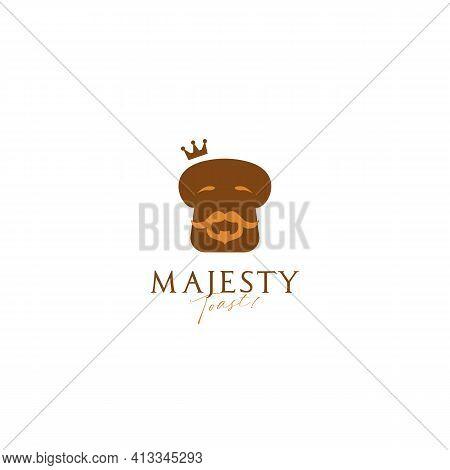 King Majesty Toast Bread Bakery Logo Icon Symbol With Bearded Old Wise King Bread Illustration Masco