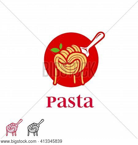 Spaghetti Fist On Fork Pasta Ramen Noodle Logo In Hand Punch Fist Shape Icon Symbol Of Freedom Power